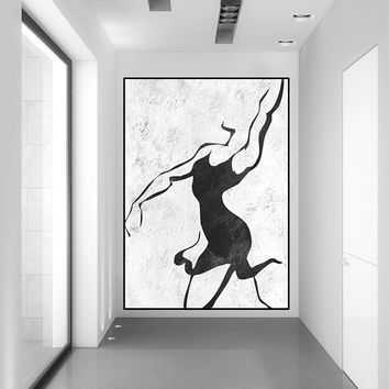 LARGE abstract ART WOMAN silhouette painting, original abstract painting, acrylic painting black and white wall decor, large abstract art,