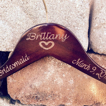 Fast processing Simply Engraved ~ personalized wedding hanger Notched Wedding Hanger ~ Personalized Bridal party hangers with ~ name~date~ti