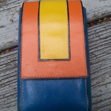 Vintage 60s Colorblock Leather Mod Cigarette Pack Case
