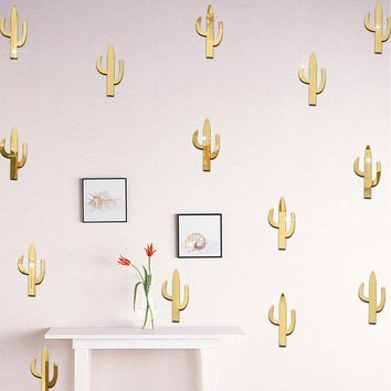 11Pcs/set 3D Wall Stickers Decorative Plant Cactus Stickers Decals