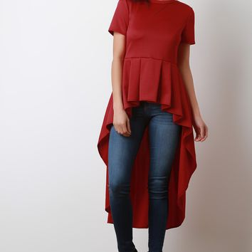Short Sleeve Peplum High Low Top