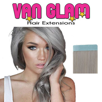 "Striking Silver / Tape In / Hair Extensions / 20"" / 100% Remy Human Hair"