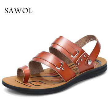 Sawol Men Sandals Genuine Split Leather Men Beach Sandals