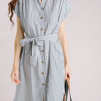 Andrea Striped Belted Midi Dress