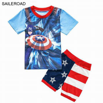 2-7Y Captain America Baby Kids Clothing Sets Summer Children Boys Girls Clothing Suits Shorts Shirt And Pants Outfits SAILEROAD