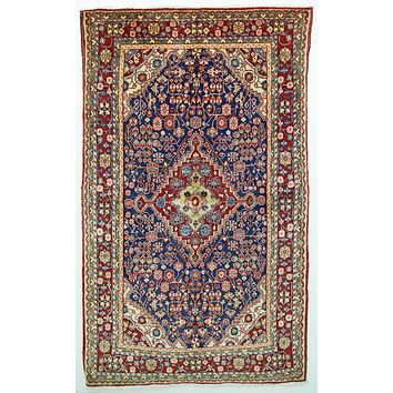 Oriental Kultok Persian Tribal Rug, Blue/Cinnamon Red