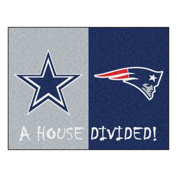 Dallas Cowboys - New England Patriots NFL House Divided Rugs 33.75x42.5