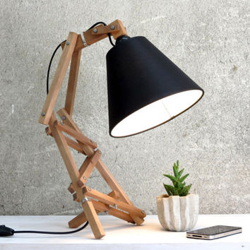 Bedside Lamp, Desk Lamp, Wooden Lamp, Geometric Lamp, Adjustable Lamp, Shade Lamp, Reading Lamp, Night Lamp, Bedroom Decor, Ferm