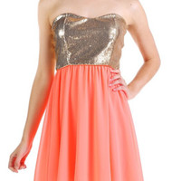 Coral and Gold Strapless Sparkle Dress | The Handmade Hustle