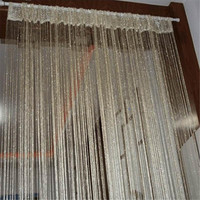13 Colors Vogue Curtain Silver Silk Tassel String 200cm x 100cm Door Window Living Room Divider Curtain Valance