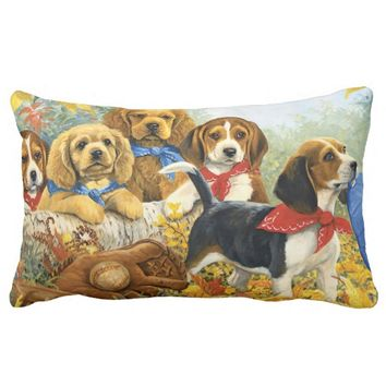 cute adorable dogs and baseball lumbar pillow