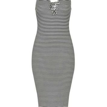PETITE Stripe Lace Up Midi Dress
