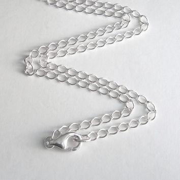 Men's Sterling Silver Chain, 20 Inch Necklace Chain, Silver Curb Chain