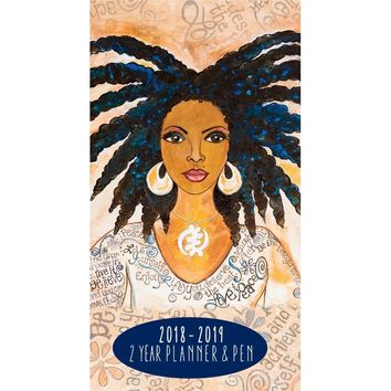 Nubian Queen 2 Year Pocket Planner, African-American Art by Shades of Color