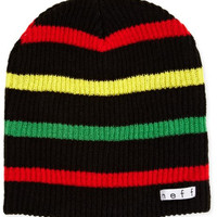 neff Men's Daily Stripe Beanie, Black/Rasta, One Size