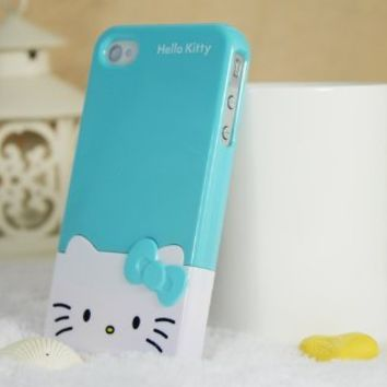 Hot 2 Piece Blue Cute 3D Bow Hello Kitty hard Case Cover Skin for Iphone 4 4S:Amazon:Cell Phones & Accessories