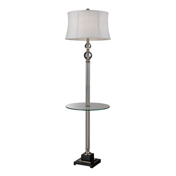 Crystal Floor Lamp with Glass Tray And Pure White Textured Linen Shade