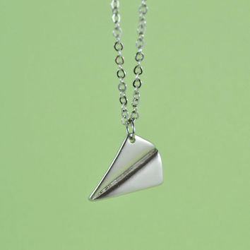 Paper Airplane Pendant Necklace, Rhodium Plated Brass, Delicate Chain, Everyday Wear, Perfect Gift