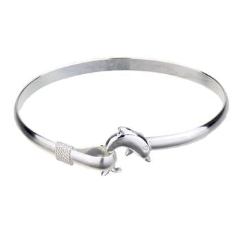 925 Sterling Silver Dolphin Bangle Bracelet