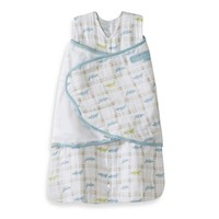 2-In-1 Swaddles > HALO® SleepSack® Newborn Cotton Muslin Swaddle in Blue Alligator