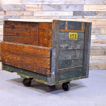 LARGE Vintage Factory Cart, Large Wood Factory Bin, Industrial Factory Cart Storage