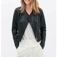 'The Marlee' Black Long Sleeve Leather Bomber Jacket
