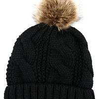Women's Thick Cable Knit Beanie Hat with Soft Faux Fur Pom Pom (Black)