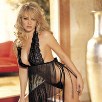 Stretch Lace and Fringe  Babydoll Set - Black- One  Size