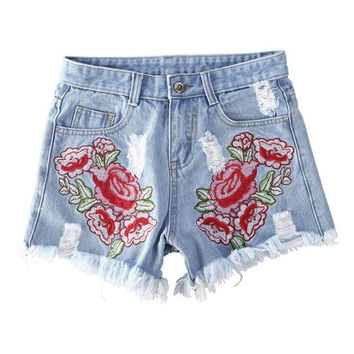 Feitong Denim Shorts Women Applique Hole Shorts Sexy Jeans High Waist Ladies Summer Shorts combinaison short femme#08 SM6