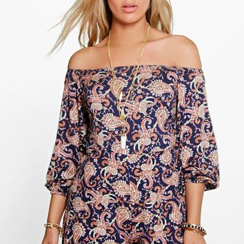 Plus Zoey Paisley Print Off The Shoulder Playsuit | Boohoo