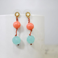 Vintage Turquoise and Coral Earrings • Turquoise Dangle Earrings • Coral Post Earrings • Vintage Turquoise Earrings • Vintage Earring