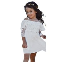 Girls Off the Shoulder White Lace Dress