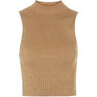 '90s Knitted Ribbed Crop Top - Camel