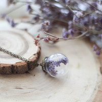 Terrarium Necklace With Real Dried Flower, Preserved Sphere Necklace, Nature Pendant, Bridesmaid Necklace, Romantic Valentine's Gift For Her