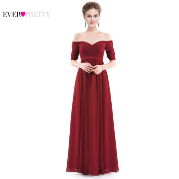 Elegant Woman Off the Shoulder Prom Dress 2017 EP07411 Ever Pretty Floor Length Burgundy, Purple, Navy Blue Chiffon Formal Gowns