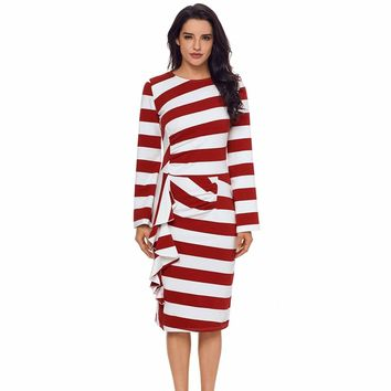 Burgundy Striped Ruffle Side Back Slit Long Sleeve Midi Dress