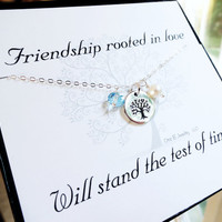Sterling silver Friendship necklace & message card, best friends birthstone necklace, tree of life, bridesmaid gifts, silver tree necklace