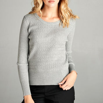 Classic Crew Knit Sweater - Heather Grey