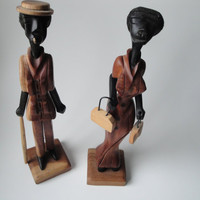 Vintage Hand Carved Wooden Figurines of Man and Women -  Home Decor