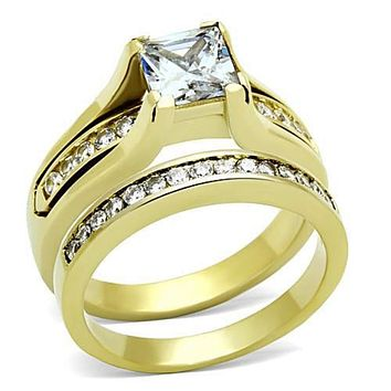 WildKlass Stainless Steel Western Ring IP Gold(Ion Plating) Women AAA Grade CZ Clear