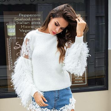 Fringed Plush Lace Knit Sweater