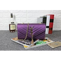 YSL Tassell Women Shopping Leather Metal Chain Crossbody Satchel Shoulder Bag Purple I-MYJSY-BB