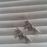 Closing sale - guns  silvertone dangle earrings