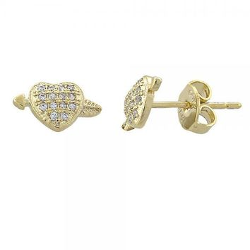 Gold Layered 02.156.0039 Stud Earring, Heart Design, with White Micro Pave, Diamond Cutting Finish, Golden Tone