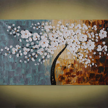 Hand-painted living room home decor flower wall art picture abstract brown white cherry tree palette knife painting on canvas art By Lisa