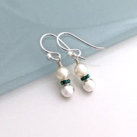 Small Pearl Earrings, Dangle Silver Earrings for Women, Green Crystal and Sterling