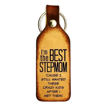 Best Stepmom Leather Engraved Keychain