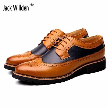 Jack Willden Fashion Mens Dress Office Lace-Up Leather Shoes Men's Casual Party Driving Oxfords Man Vintage Carved Brogue Flats