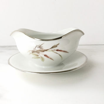 Mid Century Gravy Boat with Attached Stand, Grace China Lady Diana Made in Western Germany, Vintage Gravy Dish, Sauce Boat, Sauce Dish