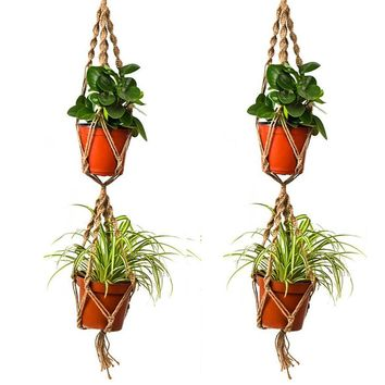 110cm Double Layer Hemp Jute Rope Plant Flower Pot Hanger Holder Macrame Hanging Basket